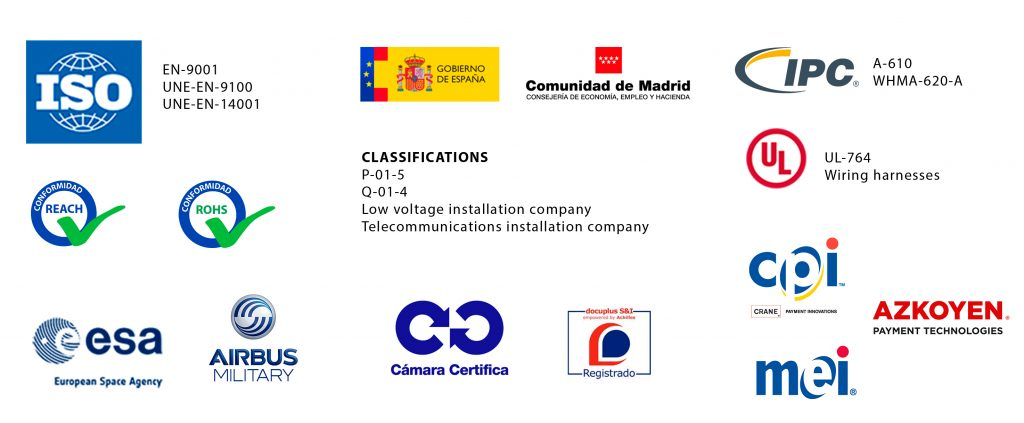 Official certifications of Grupo Espacio Industrial